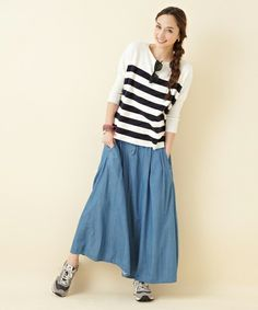 extra-relaxed maxi stripes and denim