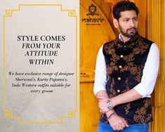 For exclusive Sherwani's, Kurta Pajama, Indo-western and much more visit our store in Chandni Chowk or inbox to book an appointment with our Fashion Consultant. Gents Kurta, Mens Ethnic Wear, Mens Sherwani, Groom Wear, Brand Ambassador, Wedding Wear, Attitude, Cool Designs, Shop Now