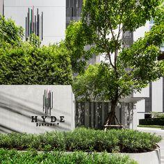 Hyde condominium landscape design by shma wison tungthunya & w workspac Entrance Signage, Entrance Design, Entrance Gates, Fence Design, Landscape Concept, Landscape Walls, Landscape Architecture, Landscape Design, Wayfinding Signage