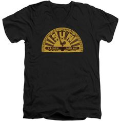 Sun Records SUN RAY ROOSTER Licensed Juniors V-Neck Tee Shirt