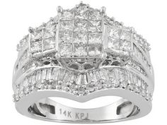 Diamond 2.00ctw Princess Cut, Baguette And Round, 14k White Gold Ring