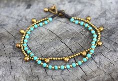 Turquoise Chain Layer Brass Anklet by brasslady on Etsy, $9.00