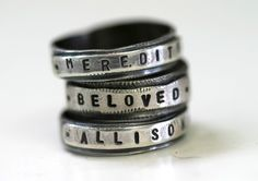 Custom Stamped Personalized Name Band Ring Silver by monkeysalwayslook | $82