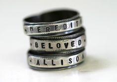 Custom Stamped Personalized Name Band Ring by monkeysalwayslook, Monkeys Always Look