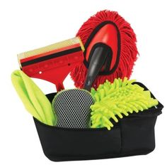 """by Smart Living Company Scrub and shine your car with this handy 7-piece set. It comes with everything you need to keep your ride grime-free and looking great.  Set includes windshield cover, 12"""" duster, window cleaner, dust mitt, 13 1/2"""" x 13"""" cloth, 6"""" sponge and storage tote. allgooddecor.com  #allgooddecor #furniture #accents #decor #gifts #decorations #lighting #candles #mirrors #figurines #fountains #outdoor #toys"""