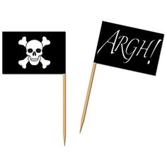 "Club Pack of 600 Black and White Pirate Flag Food, Drink or Decoration Party Picks 2.5"" ** Check this awesome product by going to the link at the image. (This is an affiliate link) #KitchenDining"