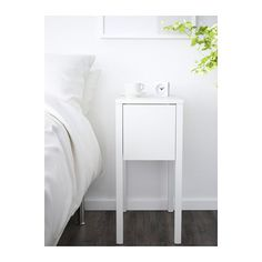 IKEA - NORDLI, Bedside table, white, On the hidden shelf is room for an extension socket for your chargers. The cable to the socket can be hidden in the groove along the table leg. Bedroom Decor On A Budget, Bedside Table Ikea, Ikea Nordli, Tiny Bedroom, Bedroom Furnishings, Nightstand, Ikea, Small Nightstand, Small Bedside Table