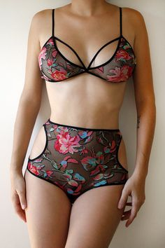 Wowsa! Everything in this Etsy store is fabulous!  Cassia Lingerie Set soft bra and cutout knickers by Toruandnaoko, $75.00