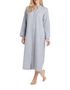 Carole Hochman Plus Diamond Shimmer Zip Robe Women's Grey Petite Large