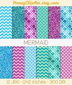 Mermaid digital paper with purple, teal, and aqua blue clip art background patterns including chevron, fish scale, sequin, glitter, and sparkle.