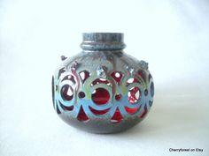 Glit Lava ceramics,Iceland.. Candle holder. Mid century Modern  Art ceramics with lava decor.