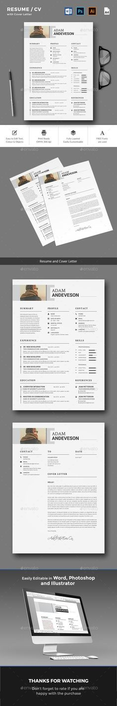 Clean ResumeCv  Resume Cv Ai Illustrator And Cv Template