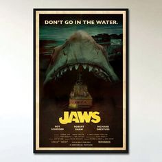 "This is an alternative retro movie poster print for the 'Jaws', designed by Ehron Asher. Inspired by posters from B-Movie monster films of the late 60's and early 1970's such as 'Creature From Black Lake', 'The Crater Lake Monster', and 'It Lives By Night', and features Brody, Hooper, and Quint motoring somewhere along Amity, on the Ocra, directly into the jaws of Bruce the shark. 11""x17"", professionally printed on 100lb high-quality paper with a silk finish. Silk finish is similar to a…"