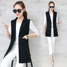 2018 spring and autumn wild women's vest long section Korean Slim was thin sleeveless suit vest vest jacket jacket Sleeveless Blazer Outfit, Black Vest Outfit, Sleevless Blazer, Suit Vest, Vest Jacket, Blazer Dress, Women's Dresses, Dress Outfits, Models