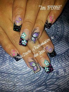 Uñas decoracion heiluz Hot Nails, Hair And Nails, Fancy Nails, Pretty Nails, Butterfly Nail Art, Finger, French Tip Nails, Toe Nail Designs, Acrylic Nail Art