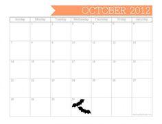 Free Printable October 2012 Calendar - The TomKat Studio