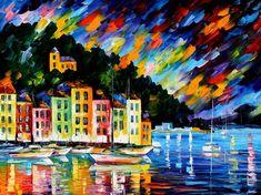 Puerto de Portofino Italia-espátula óleo sobre por AfremovArtStudio