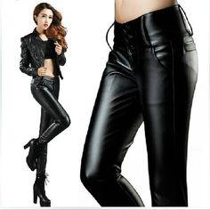 2015 nuevo imitación de cuero pantalones para mujeres Sexy cintura alta , además de terciopelo de lana de invierno cálido pantalones Leggings señora Casual pantalones pitillo negro