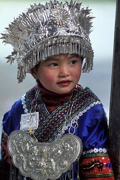Portrait of a Miao child, China Precious Children, Beautiful Children, Beautiful Babies, Beautiful World, Beautiful People, Kids Around The World, We Are The World, People Around The World, Costume Ethnique