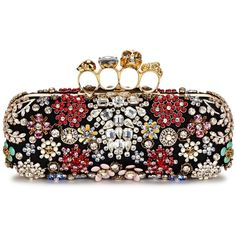 Womens Clutches Alexander McQueen Knuckle Embellished Box Clutch (€3.550) ❤ liked on Polyvore featuring bags, handbags, clutches, floral clutches, beaded purse, black purse, black box clutch and black skull purse
