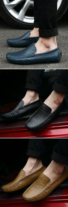 Big Size Men Pure Color Slip On Leather Driving Flat Shoes