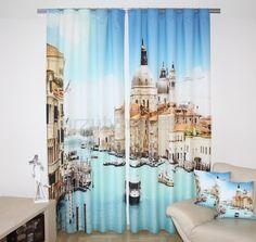 Zasłony do sypialni w kolorze niebieskim z Wenecją