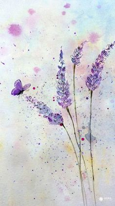 Ideas For Tree Drawing Watercolor Watercolour Butterfly Watercolor, Watercolor Trees, Watercolor Cards, Floral Watercolor, Watercolor Paintings, Artwork Paintings, Butterfly Painting, Painting Art, Painting Trees
