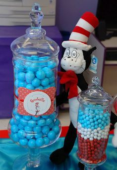 Cat in the Hat Birthday Supplies Dr Seuss Birthday Party, First Birthday Parties, Birthday Party Decorations, Birthday Candy, Dr. Seuss, Cat In The Hat Party, Birthday Supplies, Birthday Ideas, Dr Seuss Baby Shower