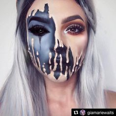 Fabulous #demon Side Face Paint  #halloweenmakeup #halloween #halloweencostumes #makeup