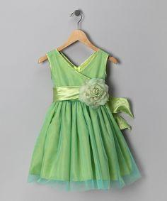 Lime Green Flower Dress - Toddler & Girls
