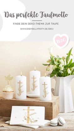 Du suchst noch das perfekte Thema für die Taufe? Auf unserem Blog wirst du fündig :) Motto, Place Cards, Place Card Holders, Blog, Diy, Candles, Vintage Baptism, Communion, Wedding