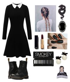 """""""modern wednesday addams """" by elainetracy13 on Polyvore featuring Dr. Martens, Le Vieux, Lydia Courteille, Kate Spade and modern"""