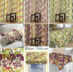 Rideau deco florale tissu textile fabrics curtain vorhang tenda home room interior