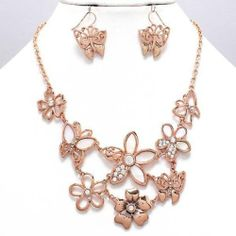 Chunky Flower Charm Gold Chain Necklace Earring Set Fashion Costume