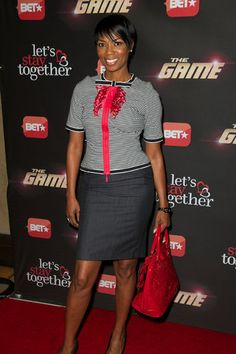 In head-to-toe Navy, Vanessa A. Williams walks the red carpet of the premiere.  essence.com