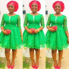 Last Beautiful Rock Green Aso Ebi Lace Styles. Here is green Aso ebi Lace Styles for those who love Aso Ebi Lace Styles, African Lace Styles, Lace Dress Styles, African Lace Dresses, Ankara Gown Styles, Latest African Fashion Dresses, African Print Fashion, Nigerian Fashion, Ankara Fashion