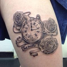 Pocket watch and roses tattoo done by Gary at Styx Tattoo