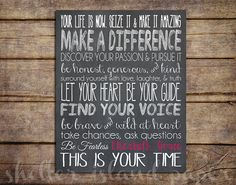 Inspirational Quote Print- Graduation gift, dorm decor- you choose colors on Etsy, $14.00