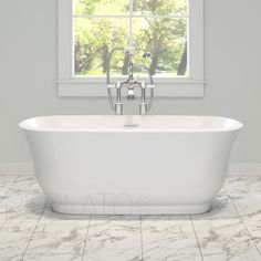 "59"" Perlato PTSNA5928 Freestanding Soaker Tub at QualityBath.com for $1,229.20 with free shipping!"