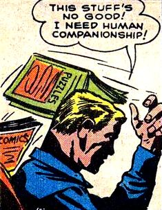 """This Stuffs No Good, I Need Human Companionship!"" and that's when Adam met Steve....you know the rest! Funny Vintage Comic Book Art."