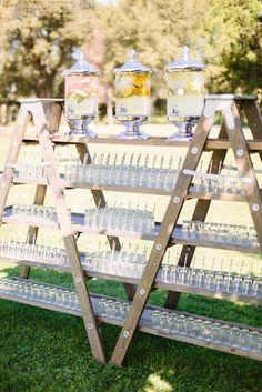 Top 20 Vintage Wooden Ladder Wedding Decor Ideas a large wedding d. - Top 20 Vintage Wooden Ladder Wedding Decor Ideas a large wedding drink bar made of a - Ladder Wedding, Farm Wedding, Wedding Ceremony, Wedding Day, Diy Wedding Bar, Wedding Arches, Wedding Backyard, Wedding Sparklers, Chic Wedding