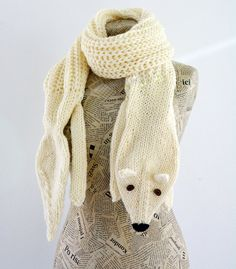 Hand knit long fox scarf in off white with polymer clay by AmeBa77