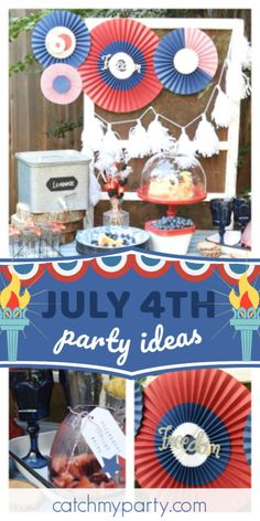 Check out this awesome July 4th celebration! The party decorations are fantastic! See more party ideas and share yours at CatchMyParty.com #catchmyparty #partyideas #4thjuly #july4th #gardenparty #summerparty Bachelorette Party Supplies, Bachelorette Party Decorations, Bachelorette Party Favors, 4th Of July Celebration, 4th Of July Party, Fourth Of July, 4th Of July Images, 4th Of July Decorations, Colorful Party