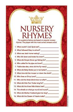 Instant Download Red Royal Prince Nursery Rhyme Quiz Red Gold Baby Shower Games, Baby Boy Shower, Baby Games, Royal Baby Showers, Royal Prince, Royal King, Prince Henry, Baby Shower Princess, Royal Babies