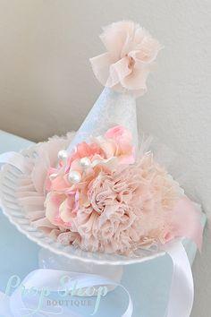 Girl's Shabby Chic Primrose Birthday Party Hat, Shabby Chic Birthday, Party Hat,