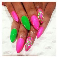Pink & green acrylic nails with bright hand painted design by Fakeit Nails Green Nail Designs, Colorful Nail Designs, Short Nail Designs, Beautiful Nail Designs, Nail Art Designs, Nails Design, Sexy Nails, Cute Nails, Pretty Nails