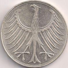Motivseite: Münze-Europa-Mitteleuropa-Deutschland-Deutsche-Mark-5.00-1951-1974