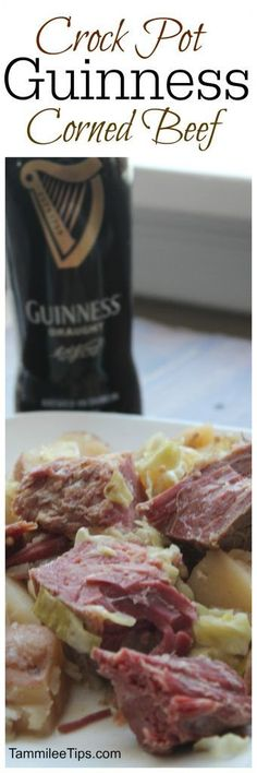 Super easy Crock Pot Guinness Corned Beef and Cabbage Recipe! Perfect for St Patrick Day the slow cooker does all the work! Celebrate St. Paddy with friends and a bit of Irish beer!