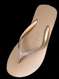 b0dea1e05f7b Rose Gold Havaianas Wedge Flip Flops Custom Rhinestone Bling High Fashion  2.4