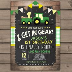 Tractor birthday invitation Tractor party by Anietillustration